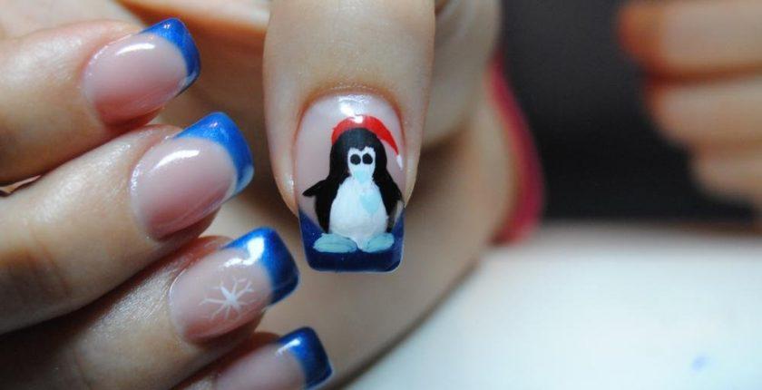 Pictura pe unghii tehnica acryl model pinguin - curs Centrul Athena